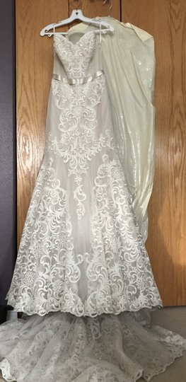 Watters Ivory/Champagne Sazani Embroidered Lace English Netting Stretch Satin Double-faced Satin Ribbon Alice 1077b Feminine Wedding Dress Size 4 (S)