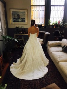 Amsale Ivory Custom Formal Wedding Dress Size 10 (M)