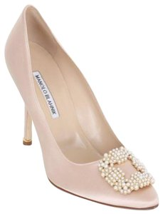 Manolo Blahnik Hangisi Satin Beaded Silk Satin Nude Pumps