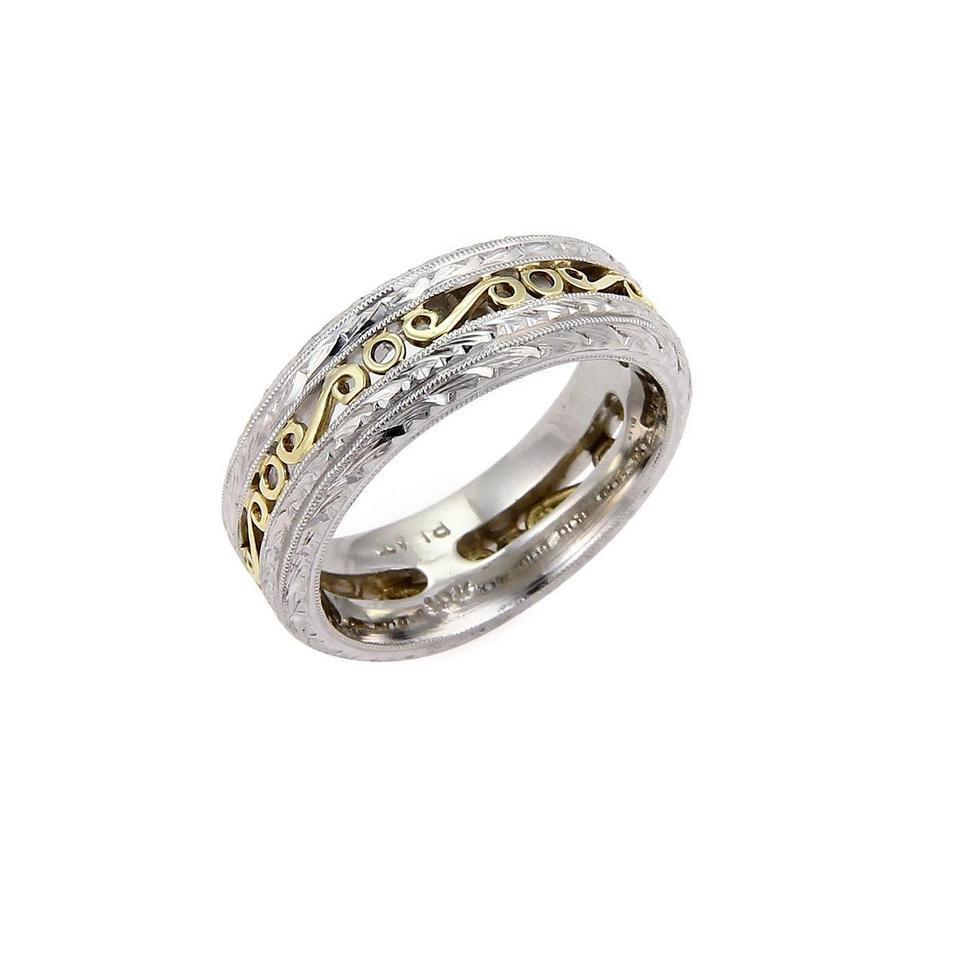 platinum center s men two white yellow bands wedding fit gold comfort in hammered band tone and