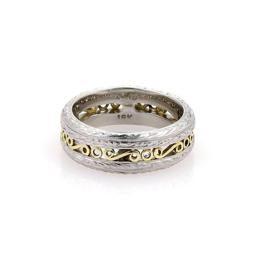 Tacori Platinum & 22k Yellow Gold Scroll Design 7mm Band Ring