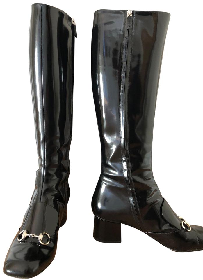 d72824455 Gucci Black Horsebit Lillian Patent Leather 362949 Boots/Booties ...