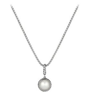 David Yurman White fresh water pearl, 10.75-11 mm diameter charm 27x14 mm and sterling silver necklace.