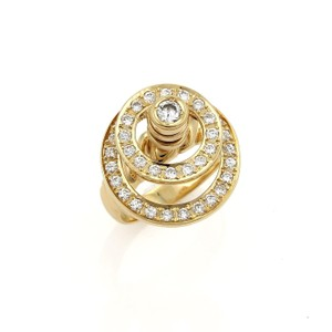 Other Diamond Double Open Circle Spinner 18k Gold Ring