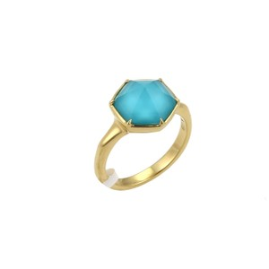 Stephen Webster Deco 4ct Blue Quartz 18k Gold Octagon Ring