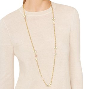 Tory Burch fleur rosary ivory necklace