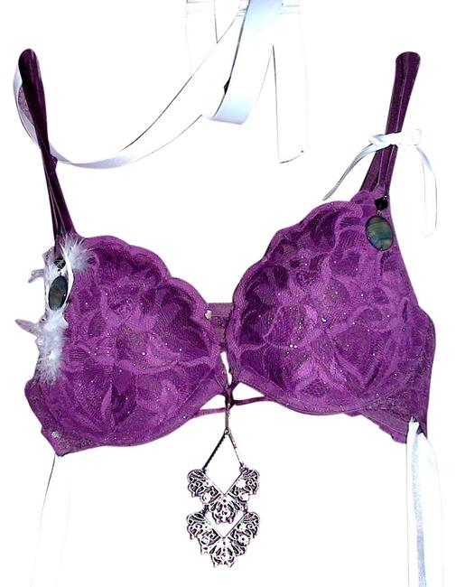 Other Bra Panty Burleaque Showgirl Vegas Showgirl Show Girl Stage Stage Wear Stagewear Dance Dancer Lingerie Ostrich Feather purple lace Halter Top