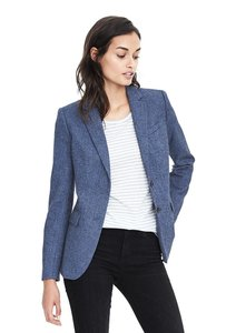 Banana Republic Flannel Herringbone Blue Blazer