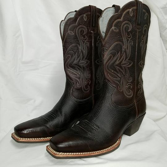 Ariat Dark brown leather with teal inner and accents Boots