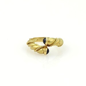 Tiffany & Co. Sapphire 18k Yellow Gold Twisted Design Bypass Band Ring