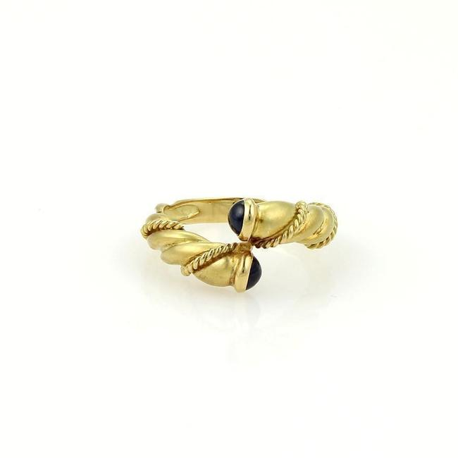 Item - Yellow Gold Sapphire Twisted Design Bypass Band Ring