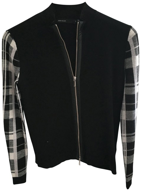 Preload https://img-static.tradesy.com/item/22678030/karen-millen-black-and-plaid-cardigan-size-6-s-0-1-650-650.jpg