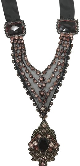 Preload https://img-static.tradesy.com/item/22678047/elie-tahari-black-with-lace-and-dusty-rose-stones-more-than-necklace-0-1-540-540.jpg