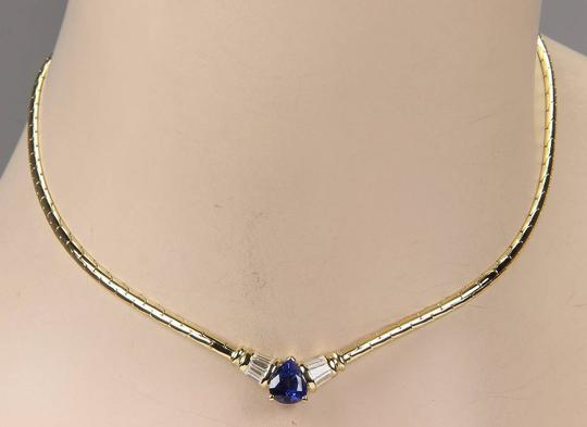 Other Estate 18K Yellow Gold Pear Shape Sapphire & Diamond Pendant Necklace