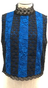 Diane von Furstenberg Striped Lace Dressy Sleeveless Elegant Top Black & Blue