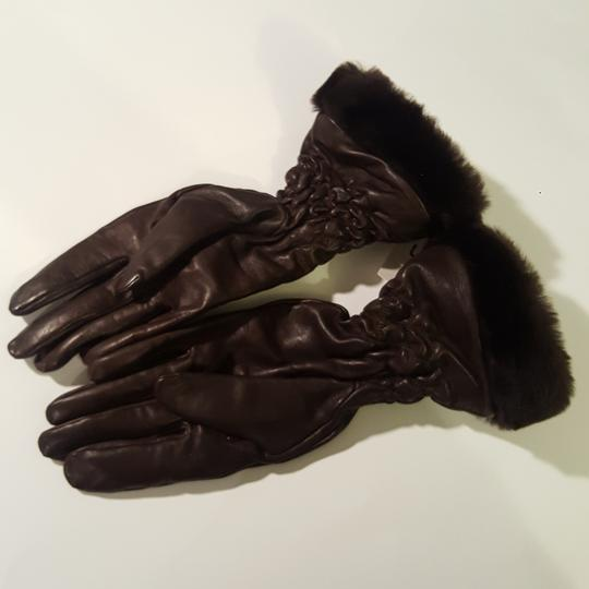 UGG Australia Uggs Ugg Women's Brown Leather with Fur Gloves Size Large