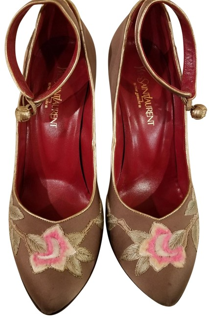 Item - Brown Hand-embroidered Blood-red Patent Leather Wedges Size US 8 Wide (C, D)