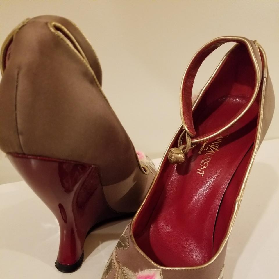 6cc4102e Saint Laurent Brown Hand-embroidered Blood-red Patent Leather Wedges ...