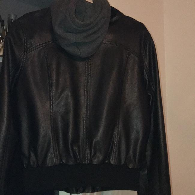 Empyre Black w/ Gray Hoodie Leather Jacket Image 5
