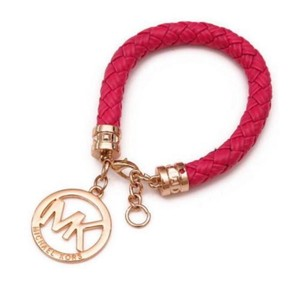 Michael Kors Michael Kors Leather Gold Tone Charm Bracelet New Pink Gold J3609