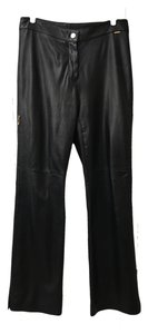St. John Leather Lined Trousers Soft Boot Cut Pants Dark Brown