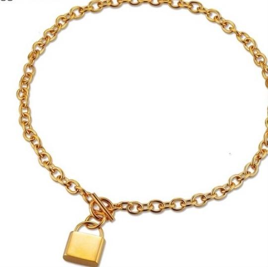 Queenesthershop Brand New Stainless Steel Gold Choker Necklace For Women Unique Lock Pendant Women Necklace Image 1