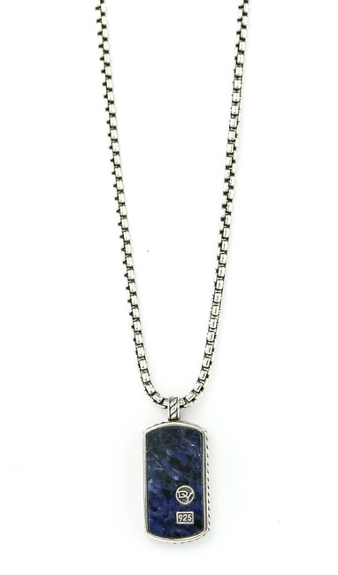 Item - * Sterling Silver Dog Tag Pietersite Pendant Necklace
