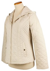 Croft & Barrow Quilted Color Snap Closure Hooded Cream Jacket