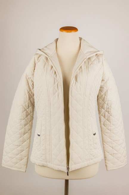Croft & Barrow Quilted Color Snap Closure Hooded Cream Jacket Image 1