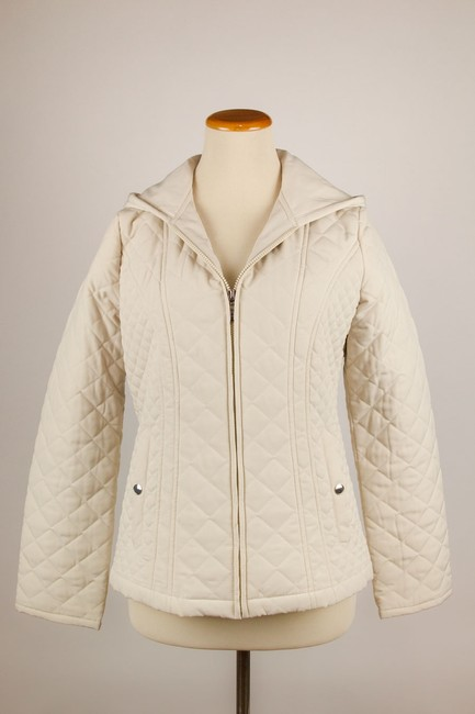 Croft & Barrow Quilted Color Snap Closure Hooded Cream Jacket Image 2
