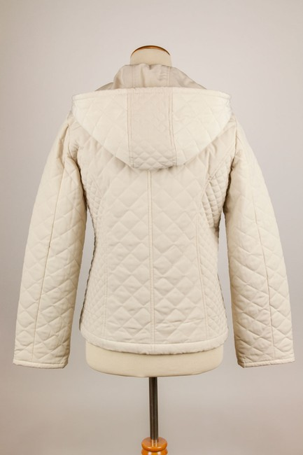 Croft & Barrow Quilted Color Snap Closure Hooded Cream Jacket Image 3