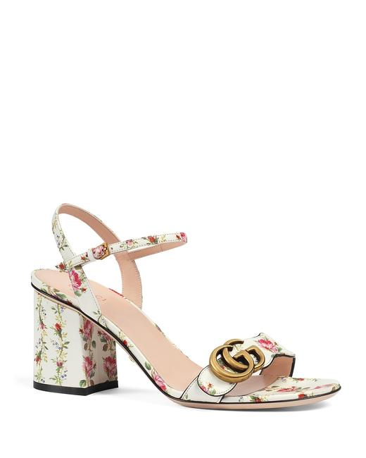Item - Ivory White Marmont Rose Blooms Floral Flower Gg Heels Sandals Size EU 38 (Approx. US 8) Regular (M, B)