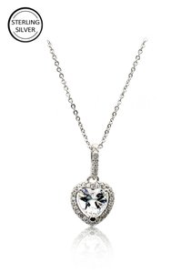 Ocean Fashion Lovely peach heart crystal sterling silver necklace