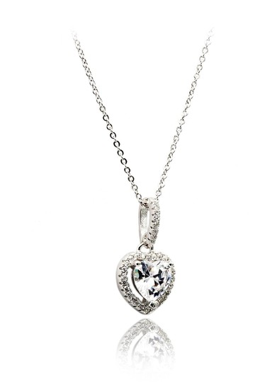 Ocean Fashion Lovely peach heart crystal sterling silver necklace Image 1