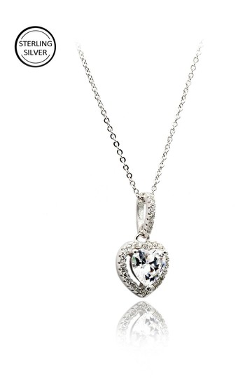 Ocean Fashion Lovely peach heart crystal sterling silver necklace Image 2