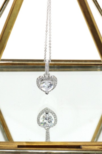 Ocean Fashion Lovely peach heart crystal sterling silver necklace Image 4