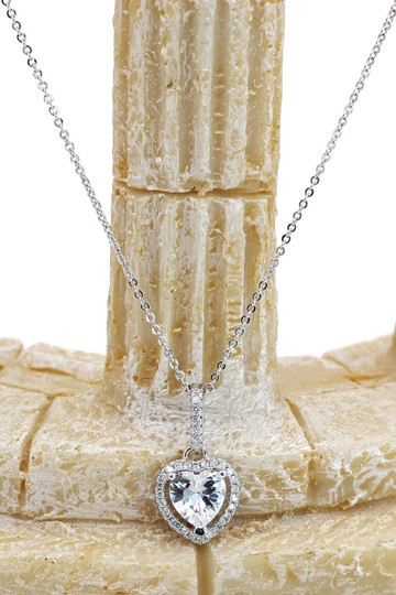 Ocean Fashion Lovely peach heart crystal sterling silver necklace Image 5