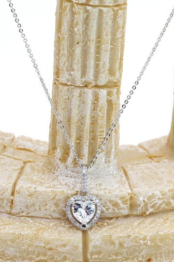 Ocean Fashion Lovely peach heart crystal sterling silver necklace Image 6