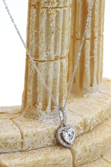 Ocean Fashion Lovely peach heart crystal sterling silver necklace Image 7