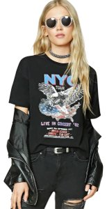 Forever 21 Lace Up Tour Graphic T Shirt Black