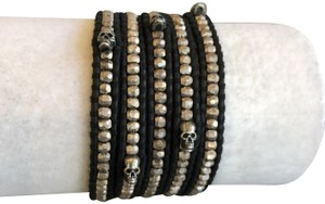 Chan Luu New Auth Chan Luu Sterling Silver Skull Five Wrap Bracelet Natural Bla