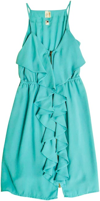 Preload https://img-static.tradesy.com/item/22679067/pink-owl-turquoise-ruffled-zipper-down-front-short-night-out-dress-size-4-s-0-1-650-650.jpg