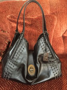 Coach Leather Madison Carlyle Gunmetal Grommets Shoulder Bag