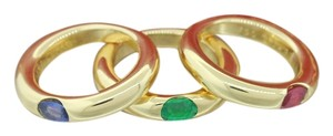 Cartier Cartier 18k Yellow Gold Sapphire Emerald Ruby Ellipse 3 Ring Set & Papers