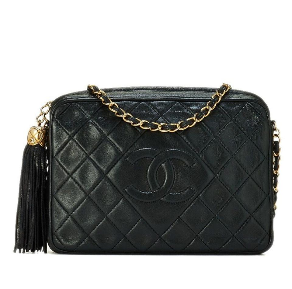 dea3e1639977 Chanel Camera Case Vintage Quilted Leather Tassel Large Black ...