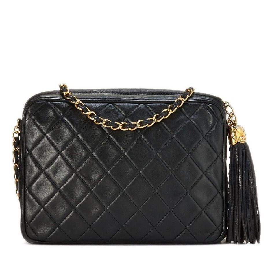 e52d2993b448 Chanel Camera Case Vintage Quilted Leather Tassel Large Black Lambskin  Cross Body Bag - Tradesy