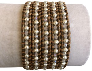 Chan Luu New Auth Chan Luu White Pearl Mix Five Wrap Bracelet on Kansa Leather