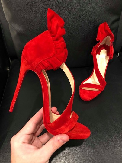 Christian Louboutin Colankle Stiletto Crisscross Strap Ruffle Sandal red Pumps Image 5
