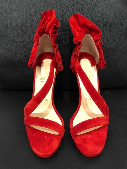 Christian Louboutin Colankle Stiletto Crisscross Strap Ruffle Sandal red Pumps Image 7