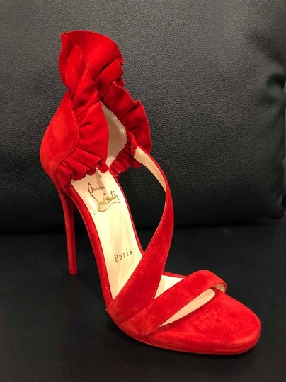 Christian Louboutin Colankle Stiletto Crisscross Strap Ruffle Sandal red Pumps Image 8
